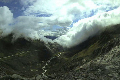 Clouds over the valley from the Rhone glacier