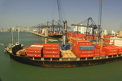 Containership loading Cartagena Port