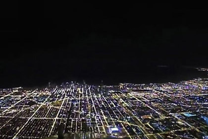 Night Landing Airplane at Chicago O'hare International Airport Cockpit View